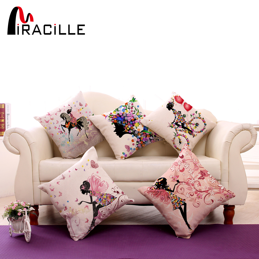 "Square 18 ""Cotton Linen Decorative Cushions Flower Fairy Bike Butterfly Baling Bantal Sofa Home Decor No Inner"