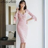 2019 Spring Sexy V neck Ruched Draped Pencil Dress Women Elegant Sheath Bodycon Dresses Pearls Flare sleeve work Vestidos