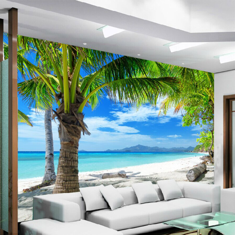 Custom 3D Wall Mural Wallpaper Blue Sky White Clouds Sandy Beach Coconut Trees Seaside Scenery 3D Photo Wall Paper Wall Covering