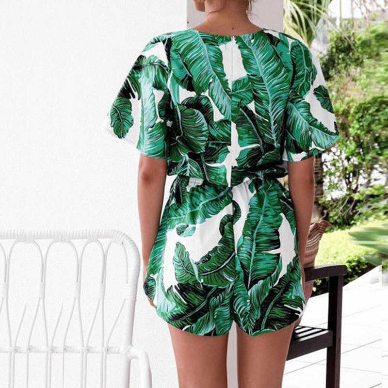 Maravilha mulheres boêmio 2018 verão macacão com decote em v envoltório lace up impressão macacão feminino casual solto senhoras bodysuit