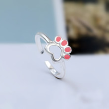 2019 new arrival 925 sterling sliver animal Pink cat footprint Ring gifts for women all my orders pinky korean fashion jewelry