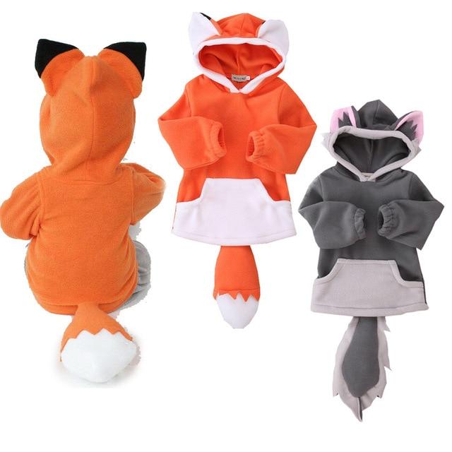 GSCH Kids Hooded Clothes Cute Fox Boys Winter Jacket Toddler Girl Jacket fleece Kids Party Cosplay Costume Deguisement Vetements