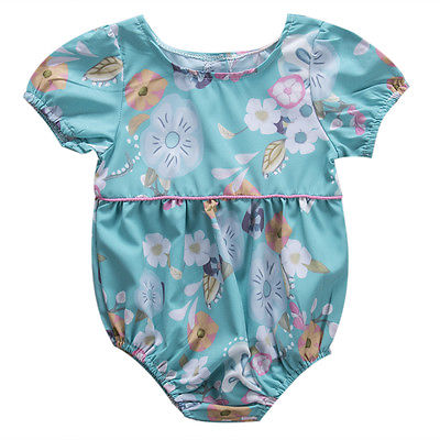 Cute Newborn Baby Kids Girls Lace Floral Jumpsuit Rompers Outfit Clothes