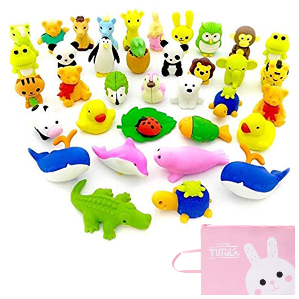 Cute Erasers Set With Storage Bag,Removable Assembly Diy Eraser,Kids Children Toy Student School Supplies