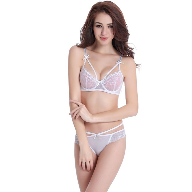 Women Embroidered Lace Bra Panties Underwear Lingerie Set