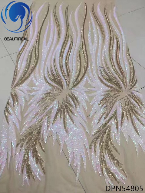 Beautifical African fabrics 2018 Latest design gold/white sequins tulle lace fabric for women dress french lace fabric DPN548