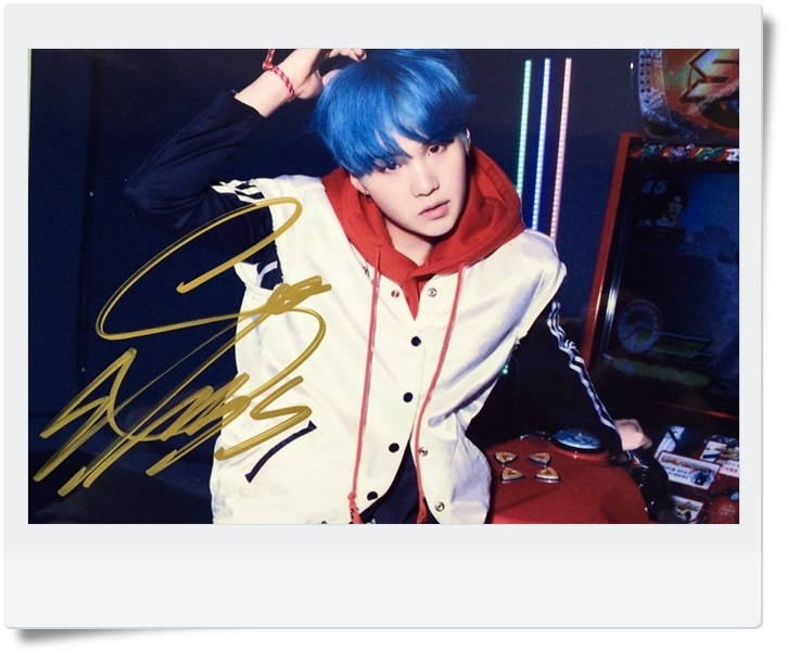 signed BTS SUGA autographed  photo LOVE YOURSELF  4*6 inches  freeshipping 092017A