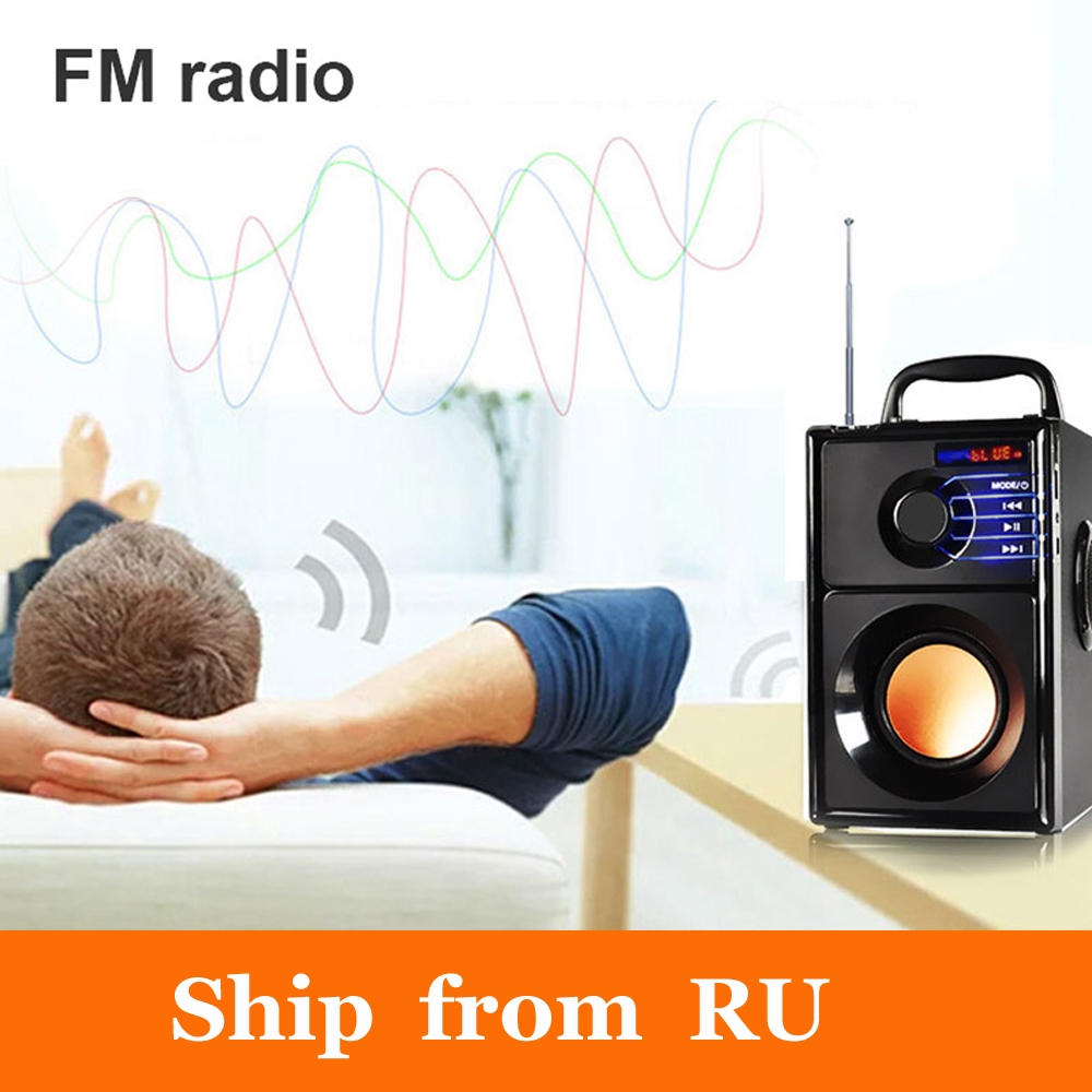Ship from RU Mini Wireless Wooden Subwoofer Bluetooth Speaker Mp3 Play FM Radio Portable Speakers Super Bass Loudspeaker exrizu ms 136bt portable wireless bluetooth speakers 15w outdoor led light speaker subwoofer super bass music boombox tf radio