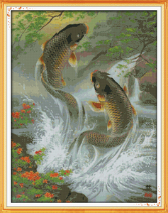 Image 2 - Carp leap animal fish Paintings home Decor Counted Print on canvas DMC 14CT 11CT DIY Cross Stitch Needlework Kit Embroidery Sets