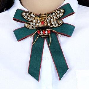 ZHINI Роскошный Королевский барочный тканевый бантик, женская брошь на булавке, ручная работа, ленты, бисер, пчела, брошь для галстука-бабочки, ...