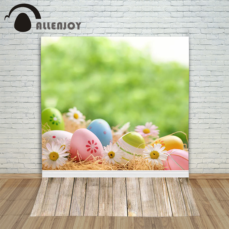 Allenjoy Easter backdrop Happpy eggs Flower wood daisies colourful background for photos photocall