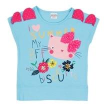 2019 Summer Girls T-Shirt Cotton  Short Sleeve Tops for Kids Cartoon Cart Print Kid Clothes