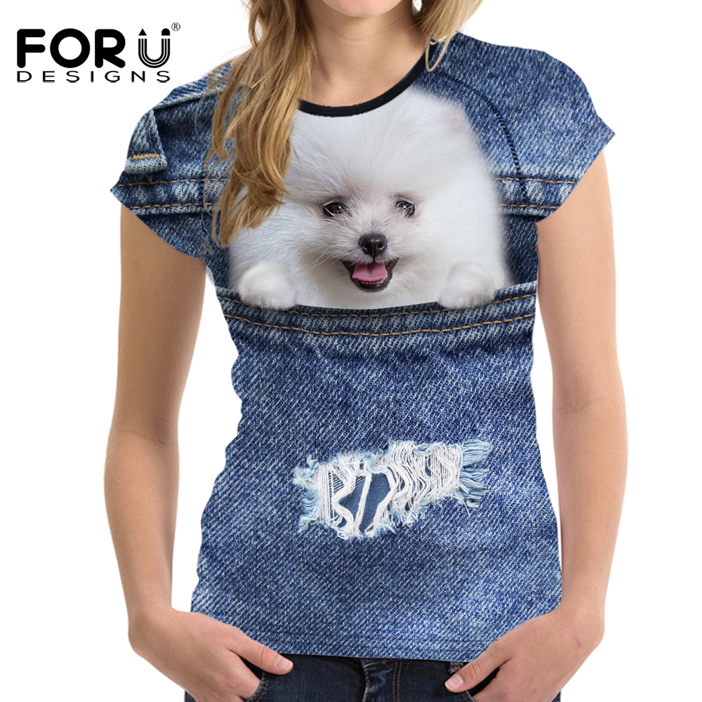 ΑΝΤΙΠΡΟΣΩΠΕΥΣΕΙΣ Denim 3D Pomeranian σκυλιών - Γυναικείος ρουχισμός - Φωτογραφία 2