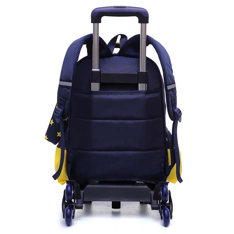 Wodoodporny plecak na kółkach chłopcy dziewczęta dzieci torba szkolna koła torba podróżna torby na bagaż dla dzieci plecak dla dzieci toczenia odpinany torby szkolne