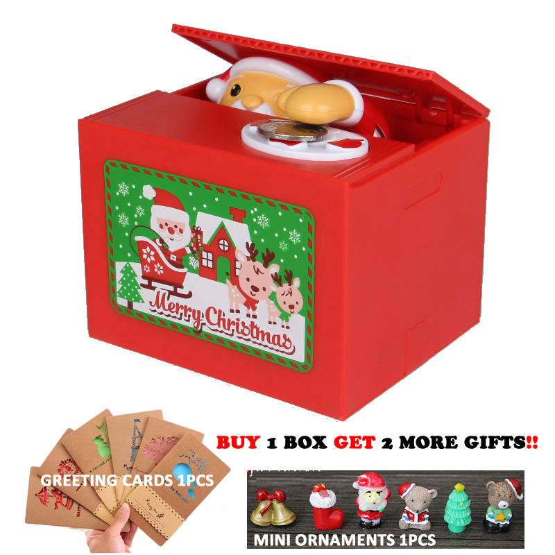 New Cute Christmas Santa Claus Electronic Piggy Bank Auto Coin Saving Box With Music Money Safe Box For Christmas Gift