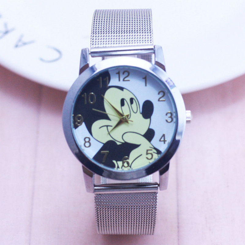 Hot Mickey women watch stylish stainless steel mesh watch casual quartz watch Girl gift children watch 2 color stylish women s solid color pleated culotte