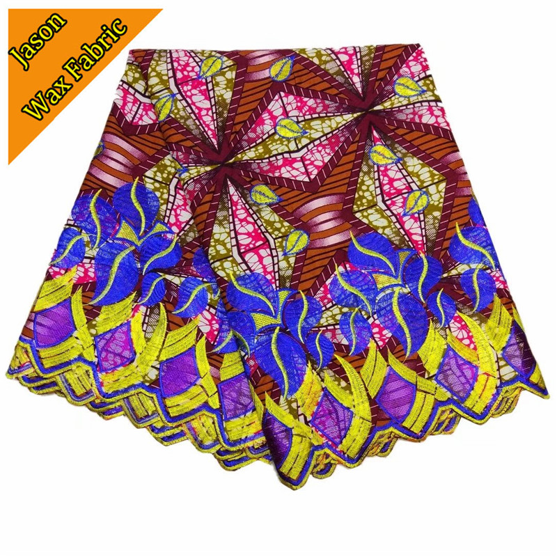 Super Wax Hollandais Fabric 100%cotton With Embroidered Nigerian Wax Guipure Fabric 6Yards For Wedding/ LBL
