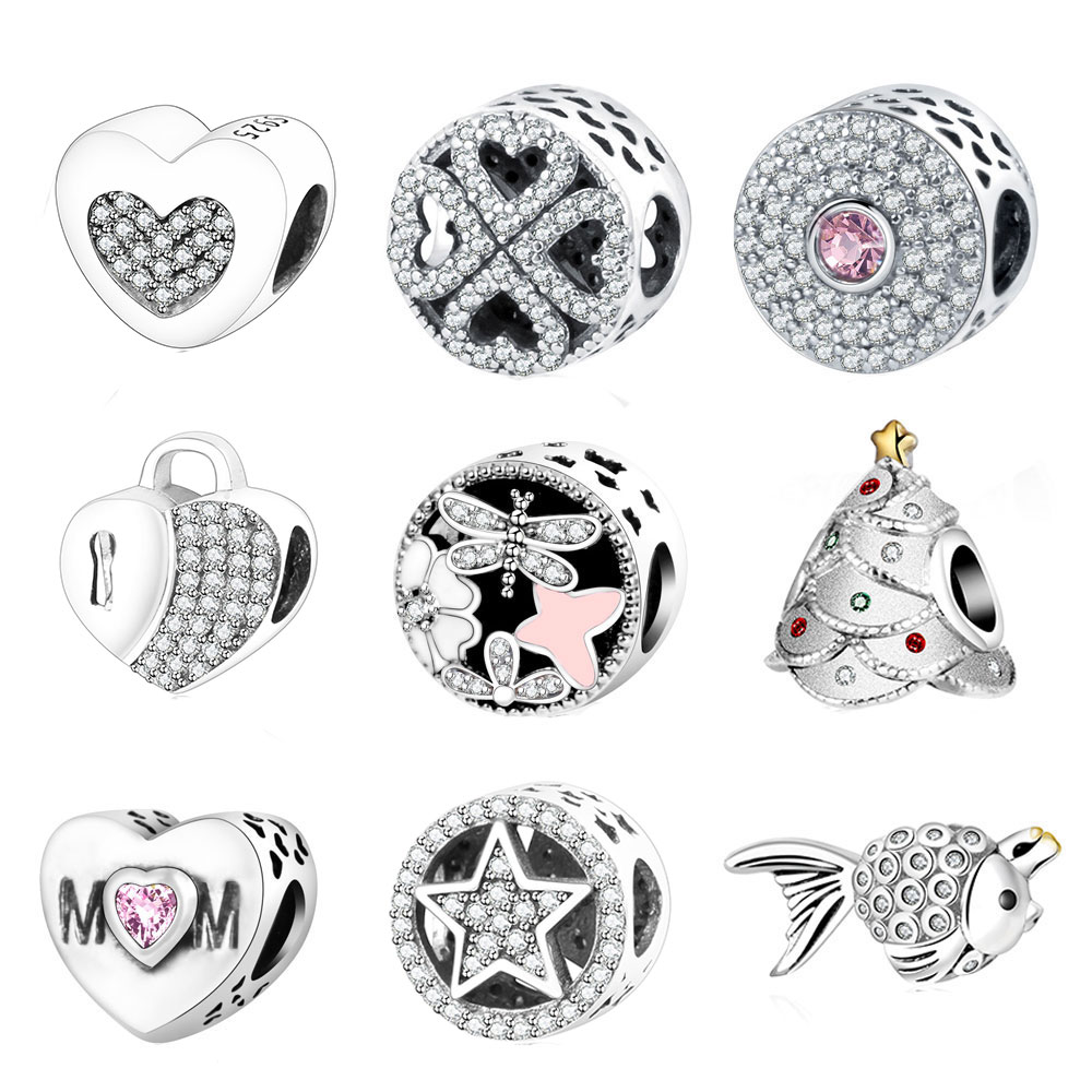 Fit Pandora Original Bracelets Charms Bead 925 Sterling Silver Charm With Clear Cubic Zirconia DIY 2016 Summer Style Authentic