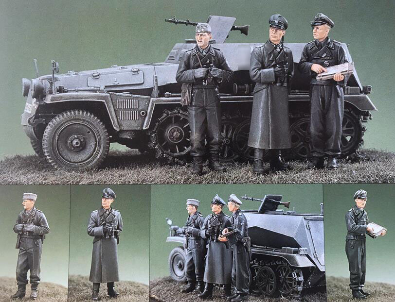 1/35 Resin Kits WWII German Soldiers 3pcs/set (no tank)1/35 Resin Kits WWII German Soldiers 3pcs/set (no tank)