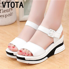 2016 Summer shoes woman Platform Sandals Women Soft Leather Casual Open Toe Gladiator wedges Trifle Mujer Women Shoes Flats X6