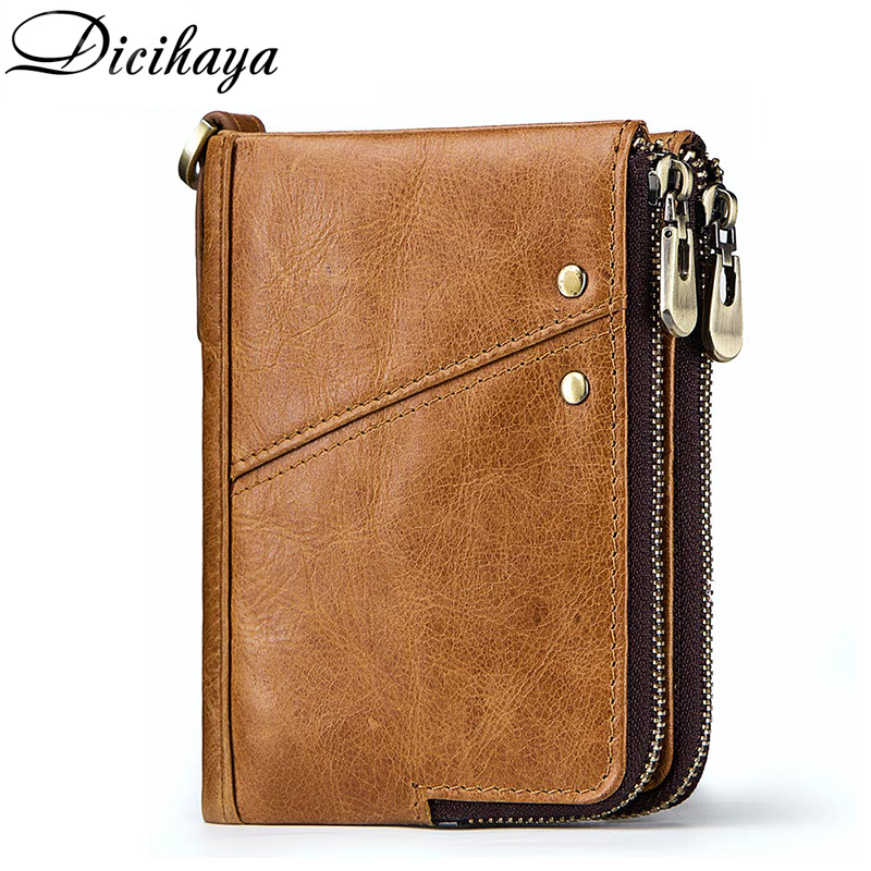 DICIHAYA Rfid Genuine Leather Men Wallet Zipper Coin Pocket Purse PORTFOLIO Card Holder Brand Designer Small Walet Portomonee