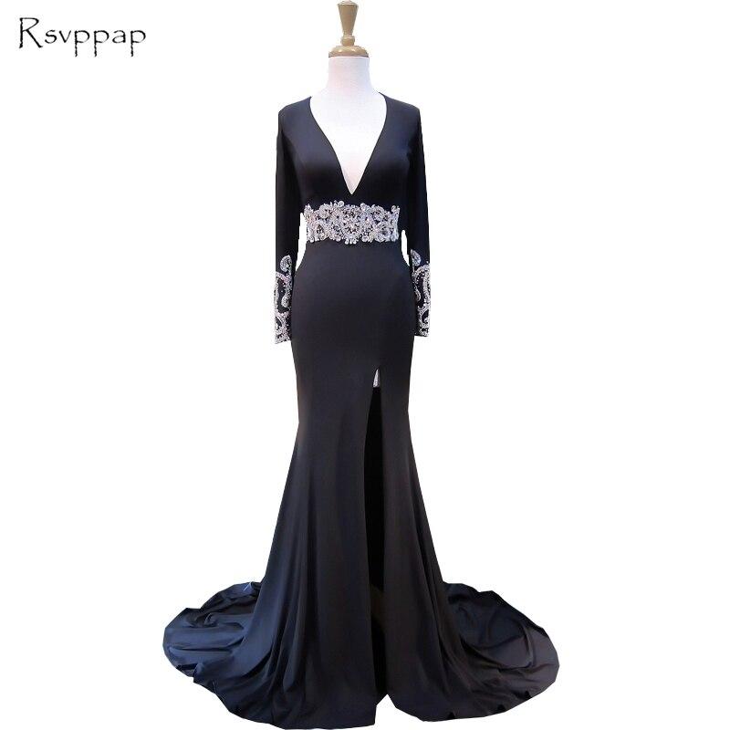 Sexy Mermaid Women   Evening     Dress   2018 V-neck Long Sleeve Beaded Crystals Floor Length Black Backless Formal   Evening   Gowns