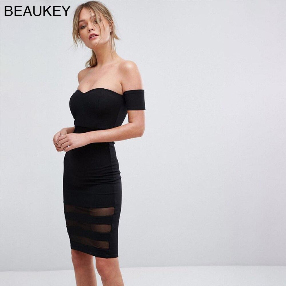 2018 夏新ストラップレスのセクシーなブラックメッシュステッチレーヨン包帯ドレス  グループ上の レディース衣服 からの ドレス の中 1