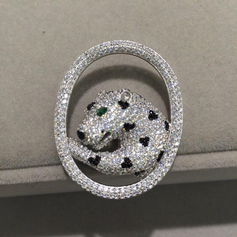 Top qualité 925 argent sterling avec zircon cubique léopard cercle panthère bijoux à bricoler soi-même connecteurs bijoux composants