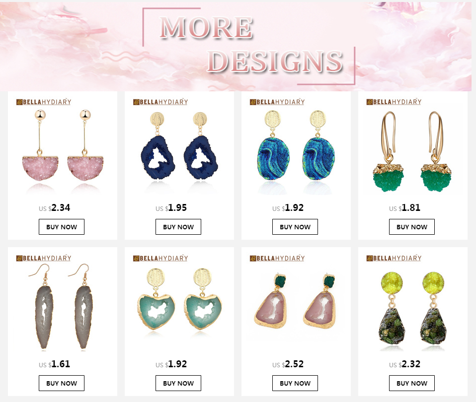 Korean Fancy Chic Stone Druzy Resin Earrings Long Drop Earrings For Women Jewelry Statement Gifts For Women Accessories Brinco 1