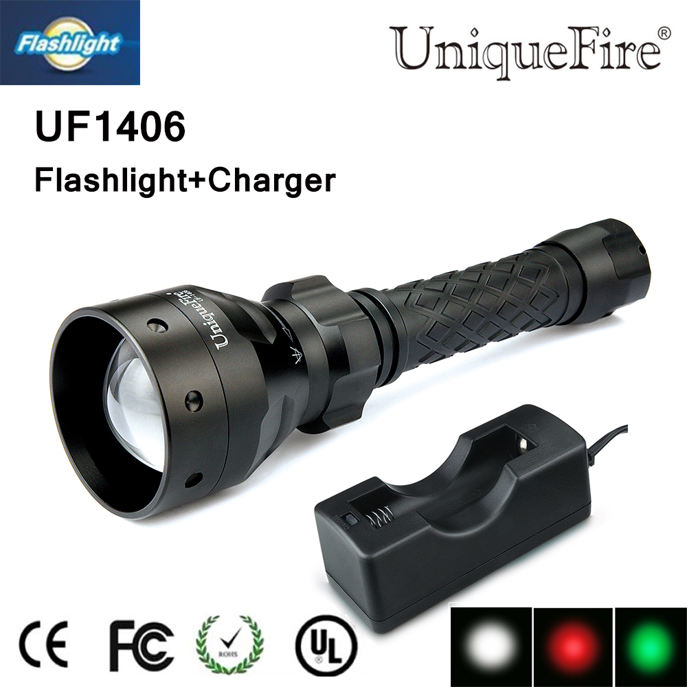 Led Flashlights Multi-function Uniquefire 1406 Q5 Zoomable 3 Mode Led Flashlight White/red/green Lamp Torch Use 18650 Battery Free Ship