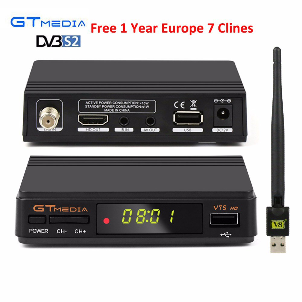 1 year 7 clines for europe GTmedia V7S HD DVB-S2 Satellite Receiver 1080P HD Receptor+USB WIFI Support PowerVu YouTube Biss key