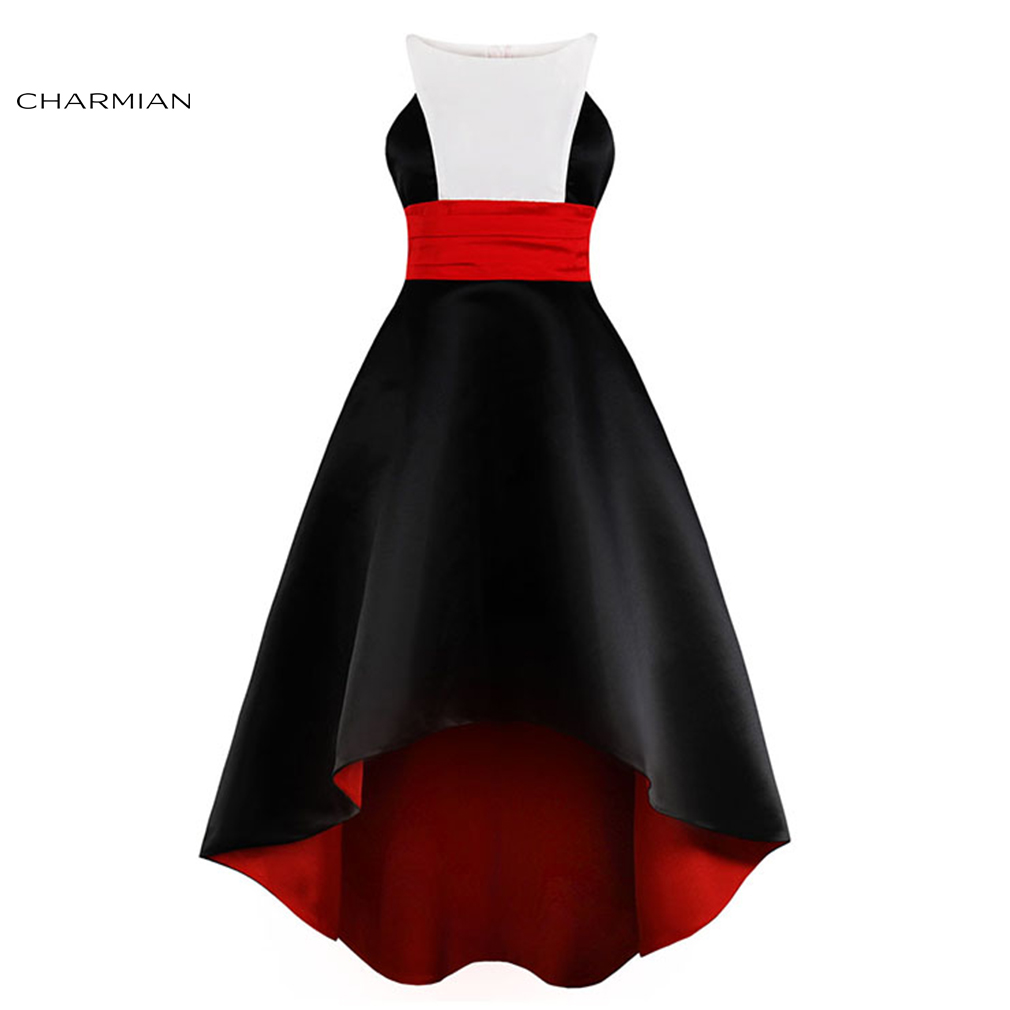 Charmian Women's Vintage Black Sleeveless Round Neck High Waist High-low Asymmetrical Cocktail Party Dress