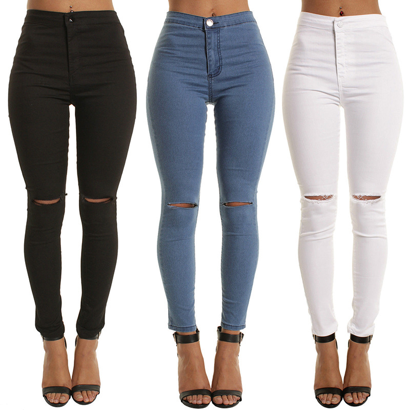Summer style white hole ripped jeans Women jeggings cool denim high waist pants capris Female skinny black casual jeans flower embroidery jeans female blue casual pants capris 2017 spring summer pockets straight jeans women bottom a46