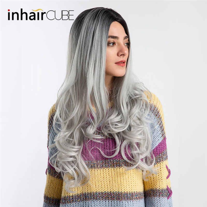 Cubo de pelo 26 pulgadas mujeres pelucas sintéticas onda del cuerpo pelo largo medio Parted transpirable elástico peluca Cap envío gratis