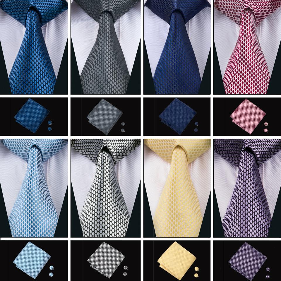 2018 New Arrival Men's Tie For Men 16 Colors Ties Set Fashion 100% Silk Neck Tie Hanky Cufflinks Set For Wedding Party Business