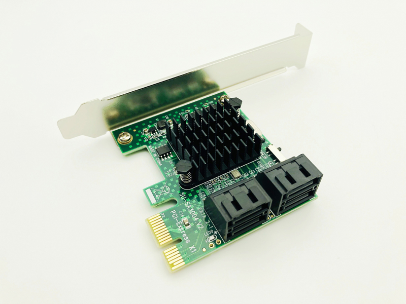 HDD SSD Adapter PCIE PCI Express 1x To 4 Port Sata 3.0 6Gbps Converter Card Adapter Expansion Board Heatsink Low Profile Bracket