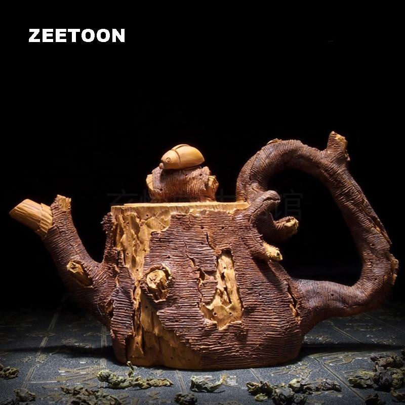 230cc Authentic Yixing Teapot Master Handmade Ladybug Imitation Wood Pot Vintage Purple Clay Chinese Tea Set Tea Pot Tea Maker