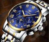 Os Caras da moda Multi-funcional Completa Aço Relógios Mecânicos Auto-vento Homens Vestido relógio de Pulso Calendário Romano Calendário Relojes W034
