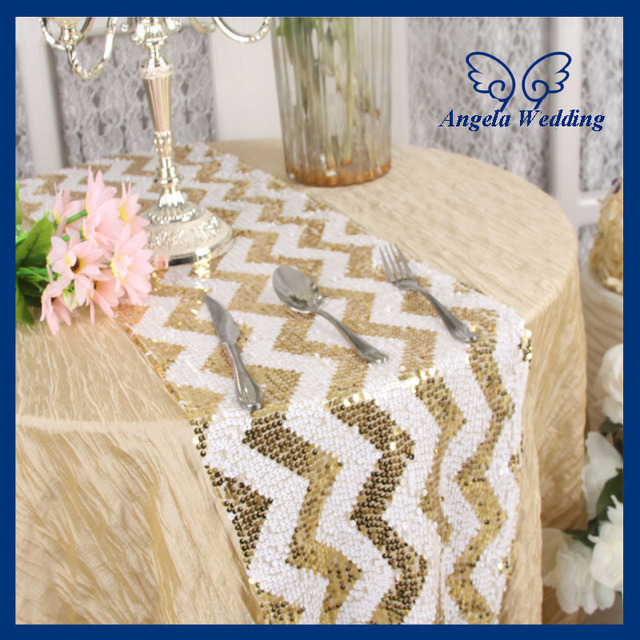 RU018H Wedding Popular Zig Zag 12u0027u0027*108u0027u0027 Gold And White Chevron