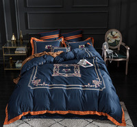 Red Blue Luxury Egyptian cotton Bedding Sets Duvet Cover Bed Sheet set Queen/King Size Bed Set Pillowcases Oriental Embroidery