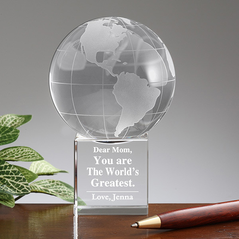 Cristallo personalizzata Globe World Palla a Terra Fermacarte Trophy Awards per Techers Bambini Laurea Souvenir