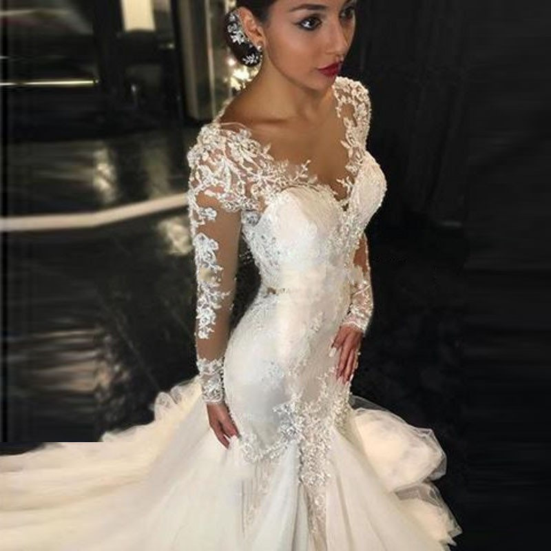 Long Sleeves Mermaid Wedding Dresses 2016 Delicate V Neck Appliques Lace Satin Tulle Custom Made Wedding Gowns With Sleeves Sheer Back