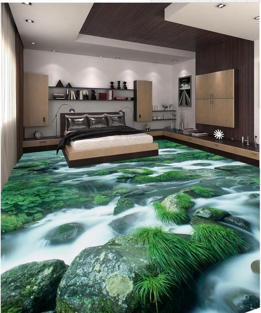 Papel pintado de suelo 3D para cuartos Creek piedra 3D suelo PVC ...