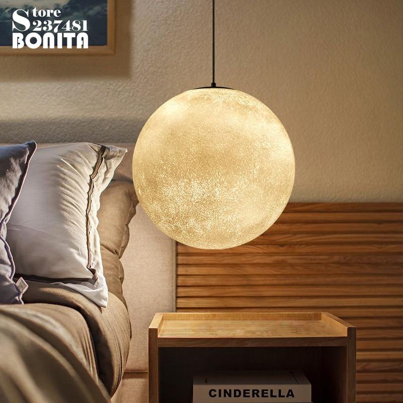 Design Lamp Pendant Lighting Moon Planet Cord Pendant Lamp Glowing Ball Hanging Lamp цена 2017