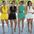 Women  Ladies Plus Size Sleeveless Jumpsuit Romper Trousers V-neck button Playsuits Clubwear Playsuit with Free Belt