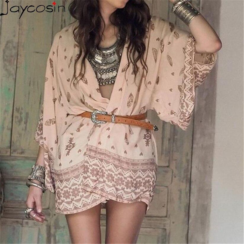 Hot marking Women Boho Printed Chiffon Loose Shawl Kimono Cardigan Tops Cover up Blouse M03 Drop Shipping