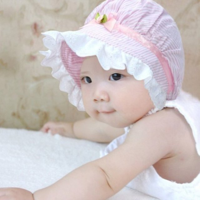 Summer Lace Baby Girls Cotton Flower Stripe Cap Kids Cute Flower Sun Visor Bucket Hat