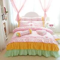 100%Cotton Korean Princess Style Handmade Lace Flower Design Duvet Cover Bed Sheet Set Bed Skirt Design Girl Bedding Set