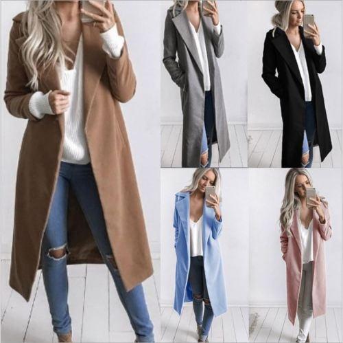 Women Winter Warm Wool Lapel Trench Coat Long Slim Overcoat Outwear Wool Coat Solid Open Stich Tops Female