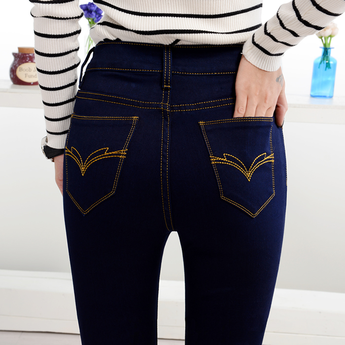 2020 New Spring And Autumn Cotton Elasticity High Waist Tight Slim Brand Female Women Ladies Girls Pencil Jeans Pants Clothes